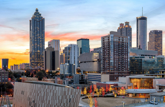 The Atlanta downtown skyline at sunset, by Gene Phillips, courtesy ACVB